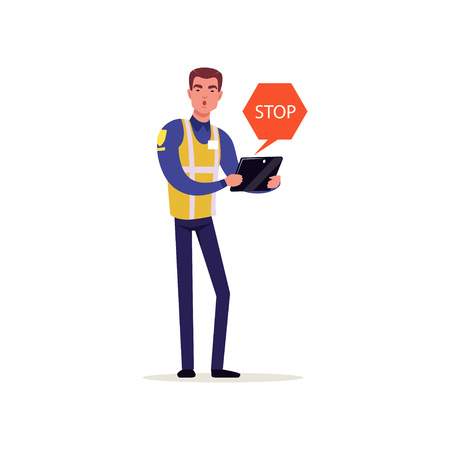Officer of traffic police in uniform with high visibility vest demanding to stop, policeman character at work vector illustration on a white background