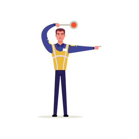 Officer of traffic police in uniform with high visibility vest gesturing with traffic sign, policeman character at work vector illustration on a white background