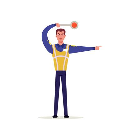 Officier van verkeerspolitie in uniform met hoge zichtbaarheid vest gebaren met verkeersbord, politieagent karakter op werk vector illustratie op een witte achtergrond Stock Illustratie