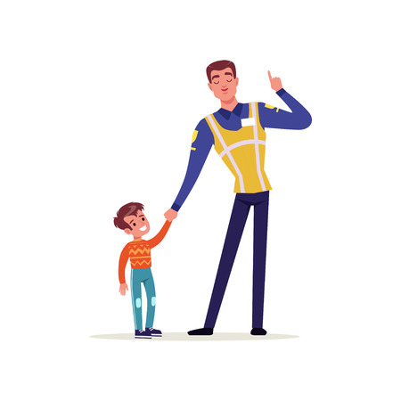 Officer of traffic police in uniform with high visibility vest and little boy holding hands, policeman character at work vector illustration on a white background