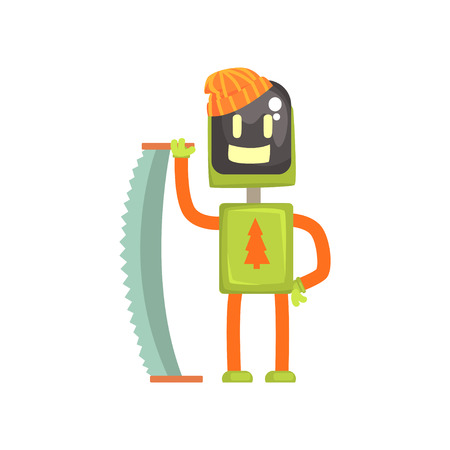 Robot lumberjack character, android with saw in its hands cartoon vector illustration isolated on a white background