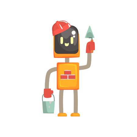 ロボットブイダーキャラクター、こてとバケツ漫画ベクトルイラストで立つアンドロイドは、白い背景に隔離  イラスト・ベクター素材
