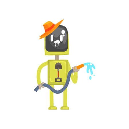 Robot gardener character, android standing with watering hose in its hands cartoon vector illustration isolated on a white background Illustration