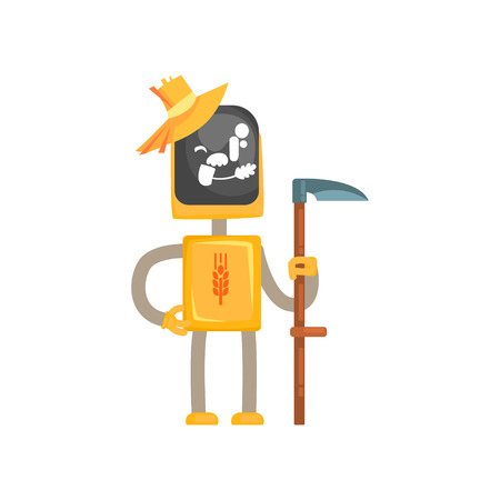 Robot mower character cartoon, android farmer standing with scythe in its hands vector illustration isolated on a white background