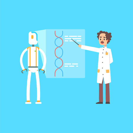 Male scientist and robot leading presentation, artificial intelligence technology concept cartoon vector illustration on a light blue background