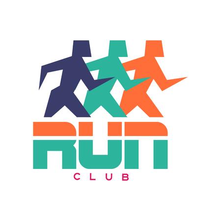 クラブロゴ、抽象的なランニングの人々のシルエットを持つカラフルなエンブレム、スポーツクラブ、スポーツトーナメント、競技、マラソン、健  イラスト・ベクター素材