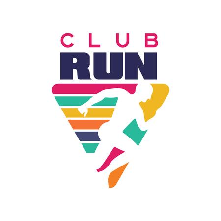 クラブロゴテンプレート、スポーツクラブ、スポーツトーナメント、競技、マラソン、健康的なライフスタイルのラベルを実行します  イラスト・ベクター素材