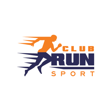 Run sport club logo template, emblem with running man silhouette, label for sports club, sport tournament, competition, marathon and healthy lifestyle vector illustration on a white background