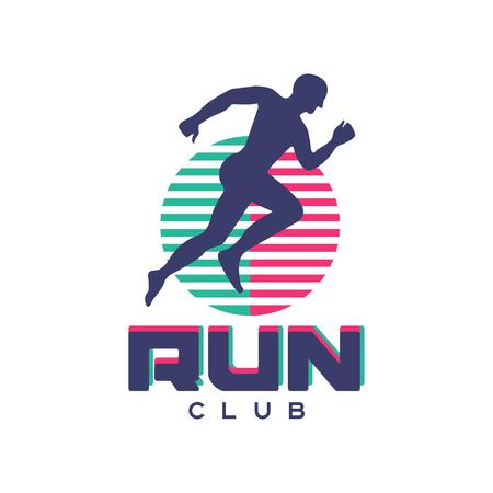 クラブロゴ、抽象的なランニングマンシルエットのエンブレム、スポーツクラブ、スポーツ大会、競技、マラソン、健康的なライフスタイルベクト  イラスト・ベクター素材