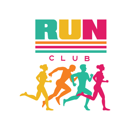 Run sport club logo template, emblem with abstract running people silhouettes, colorful label for sports club, sport tournament, competition, marathon and healthy lifestyle vector illustration