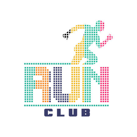 Run club logo, emblem with abstract running man silhouette, label for sports club, sport tournament, competition, marathon and healthy lifestyle vector illustration on a white background Illustration