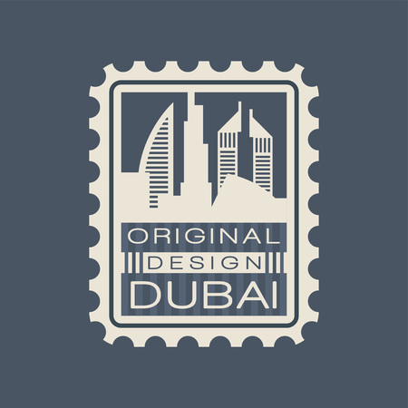 Original postage stamp with urban landscape of Dubai. Symbol with famous architecture of United Arab Emirates UAE in flat vector illustration isolated on blue background.
