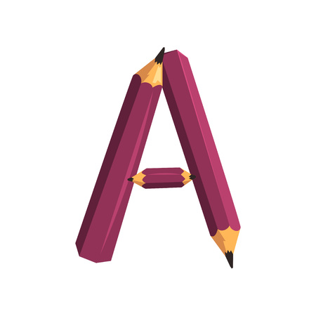 Colorful alphabet letter A created with three purple pencils. Design for children education book, classroom poster or sticker. Cartoon character in flat style. Vector illustration isolated on white. Ilustração