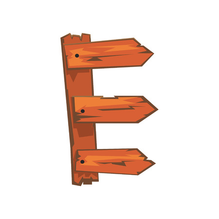 English letter E formed of downed wood planks with nails. Concept of latin alphabet, ABC. Vector illustration in flat style isolated on white background. Creative design for postcard or children book. Ilustração