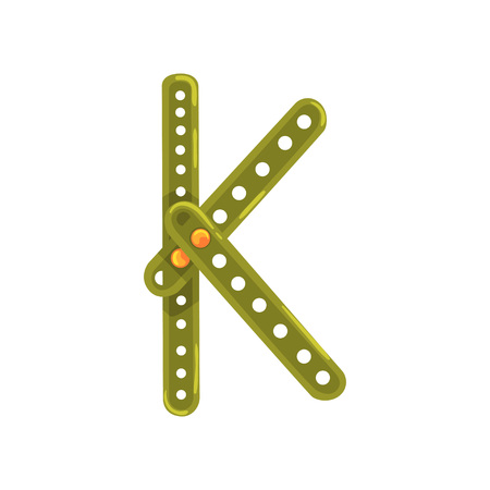 Letter K made of green metallic constructor. Cartoon character in flat style. Concept of ABC, English alphabet. Vector illustration isolated on whitebackground.