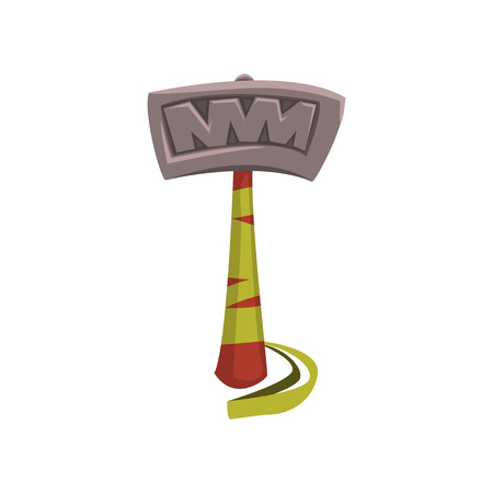 Letter T made of big steel hammer with wooden handle vector illustration