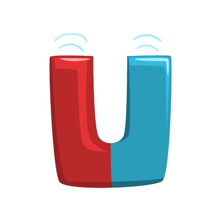 Letter U in shape of red and blue horseshoe magnet. Original text font in flat style. Concept of English alphabet, ABC. Illustration