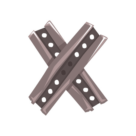 Original letter X formed by two crossed steel planks vector illustration