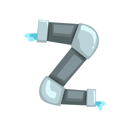 Original alphabet letter Z made of gray water pipes. Cartoon font in flat style. ABC concept. Colorful vector illustration isolated on white background. Design for mobile game, placard or banner.