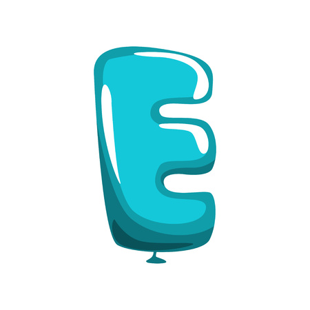Capital letter E in shape of a blue balloon.