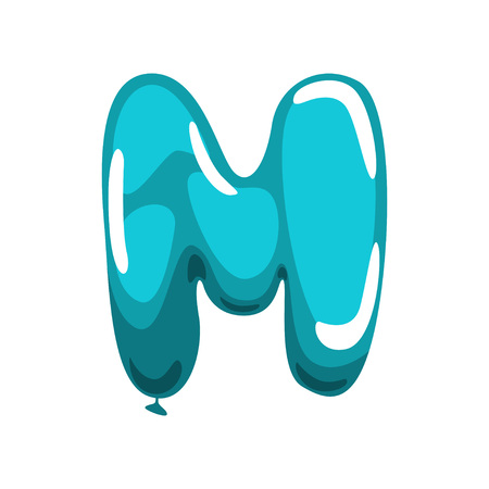 Capital English letter M made of blue glossy balloon. Funny kids education. Cartoon alphabet font. Flat vector illustration isolated on white background. Design for education card, magnet, baby shower