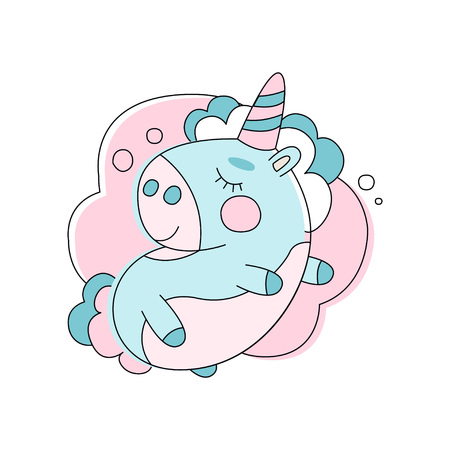 Adorable unicorn sleeping on cloud. Line icon with pink and blue fill. Funny mythical animal. Cartoon flat vector design for sticker, print, greeting card