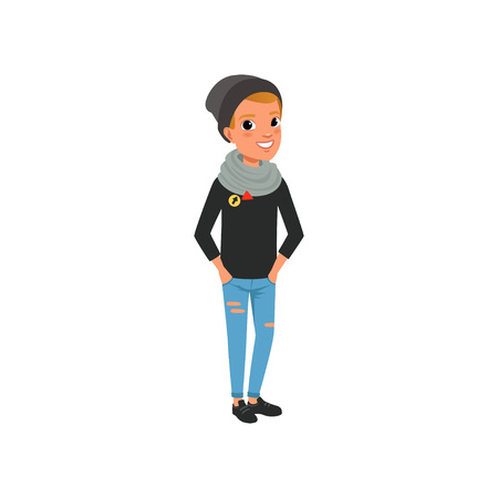 Stylish teen boy dressed in black sweater, hat, blue ripped jeans and scarf. Cartoon kid character in trendy clothes posing with hands in pockets. Flat vector design.