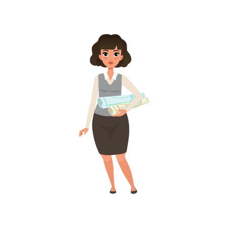 Jolie femme d'affaires debout avec des plans de projet et des plans roulés pour le travail d'ingénieur. Femme de bande dessinée dans les vêtements d'entreprise formelle. Conception de vecteur plat isolé Banque d'images - 93001351