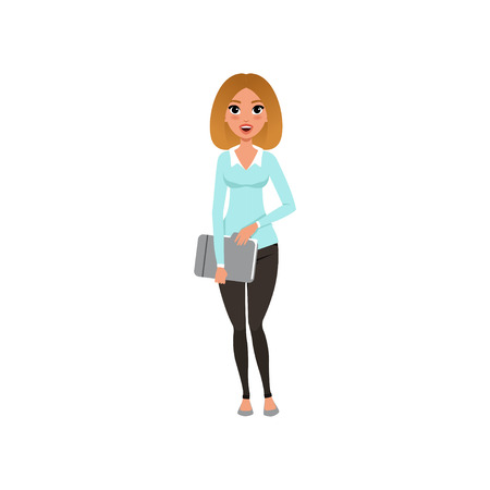 Attractive businesswoman standing with paper folder in hands. Cartoon character of smiling young girl in blue blouse and black pants. Office worker. Flat vector design Illustration