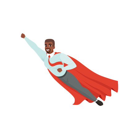 Afro-american man with superhero cloak flying with hand up. Successful businessman in blue shirt, red tie and gray pants. Leadership and achievement. Flat vector design.