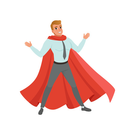 Successful business man standing with arms wide open. Cartoon male character in shirt, pants and classic red superhero cape. Career advancement. Flat vector design