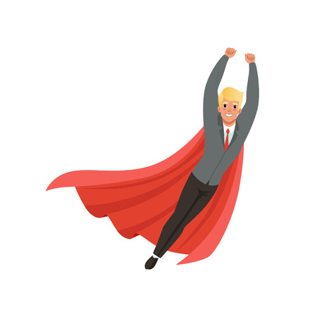 Cheerful business man with classic superhero mantle in flying action with hands up. Cartoon young guy in stylish suit, shirt and tie. Office worker. Flat vector design Illustration