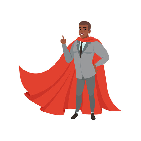 Cheerful afro-american business man standing with index finger up. Male character in suit, tie and red superhero mantle. Successful office worker. Flat vector design Çizim