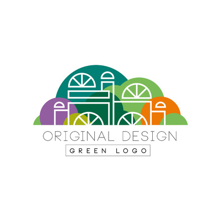 Modern logo design with city mall in line style against green park background. Entertainment center. Colorful vector illustration isolated on white. Original label for business.