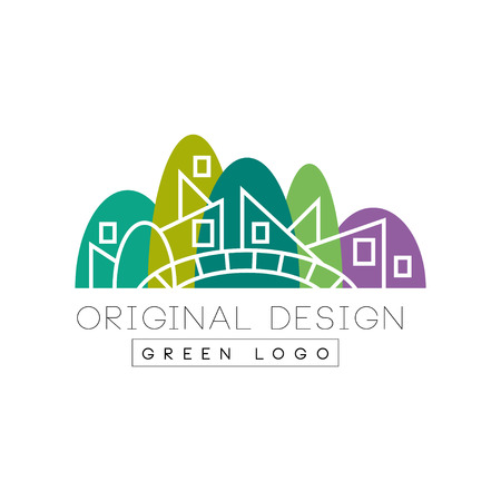 Original flat landmark with green park, bridge and linear buildings. Creative vector design for company icon, booklet, flyer or promotional poster. Vettoriali