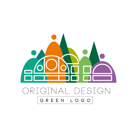Creative urban landscape with city shopping mall in outline style against colorful park. Entertainment center. Flat vector design for business logo, flyer or poster