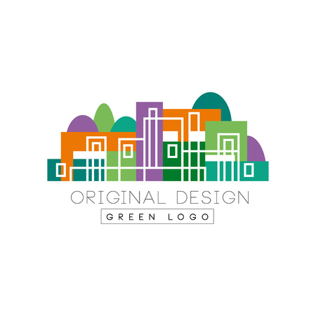 Abstract logo design with linear city buildings against forest background. Colorful flat vector design for banner, business card of real estate agency