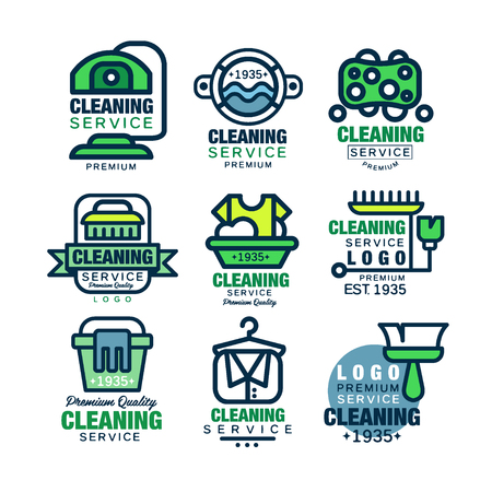 Cleaning service premium quality logo design set, home and office cleaning, car wash and outdoor cleaning vector Illustrations Illustration