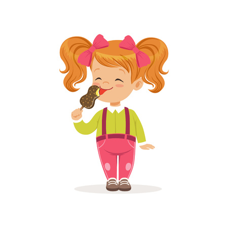 Cheerful little child licking delicious chocolate ice-cream. Red-haired girl with twintails in green blouse and pink pants with suspenders. Flat vector illustration