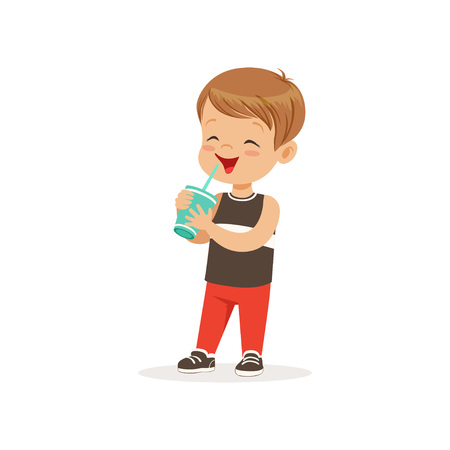 Cartoon preschool boy drinking his milk cocktail. Kid character with happy face expression. Brown-haired child in black t-shirt and red pants. Flat vector illustration Vectores