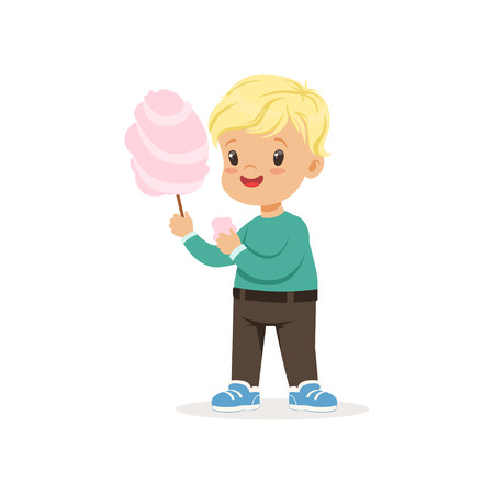 Illustration of little blond boy with sweet cotton candy. Cartoon kid character wearing green sweater and brown pants. Full-length portrait in flat style. Vector design isolated on white. Vettoriali