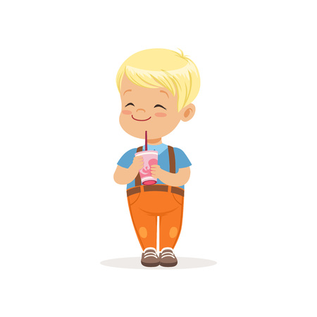 Blond toddler boy with happy face expression and sweet cocktail in hands. Refreshing summer drink. Cartoon kid character in t-shirt and pants with suspenders. Isolated flat vector illustration. Vettoriali