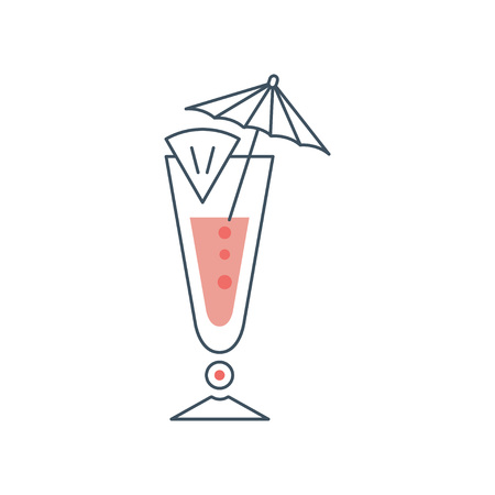 Tropical fresh cocktail in long glass with slice of lime and umbrella. Concept of alcoholic beverage in linear style with pink fill.