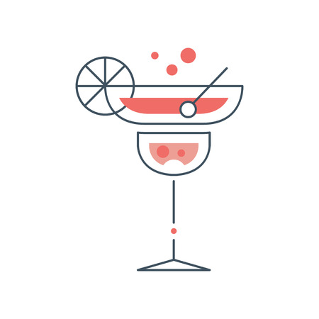 Linear icon of cocktail glass with margarita. Concept of alcoholic beverage. Vector illustration isolated on white background. Graphic design element for icon , label or poster of beach summer party.
