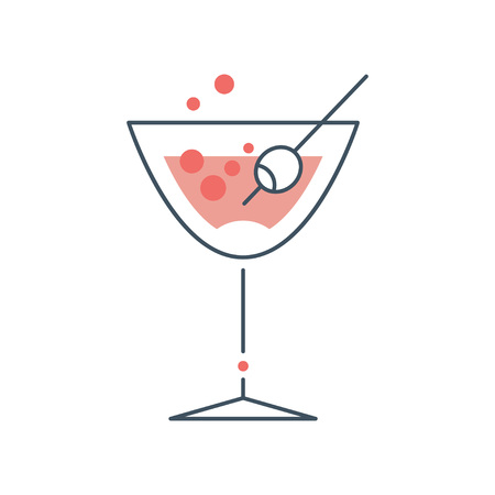 Illustration of glass with alcoholic cocktail. Goblet with strong drink. Original icon in outline style with pink fill. Flat vector design for logo, menu or sticker