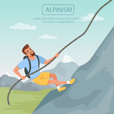 Bearded man climbing on mountain using rope. Cartoon male character in t-shirt and shorts with backpack. Adventure or competition concept. Colored flat vector design.