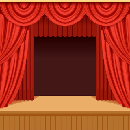 Theater scene with red curtain and dark scenery. Stage with scarlet velvet drapery. Background for event or performance poster. Flat vector