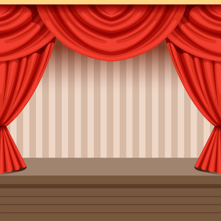 Retro theater scene background design with red curtain and striped backdrop. Wooden stage with drapery and lambrequins. Interior illustration. Flat vector Illustration