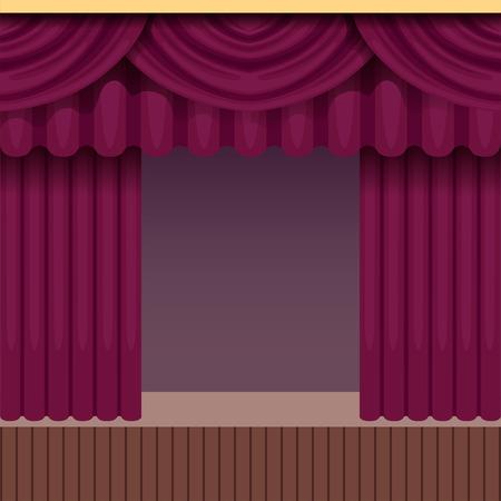 Vintage theater scene achtergrond met paarse gordijn. Houten podium met fluwelen gordijnen en dekens. Kleurrijk binnenkader. Vector illustratie. Stock Illustratie