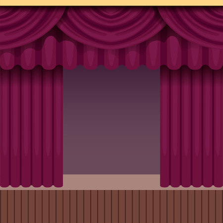 Vintage theater scene background with purple curtain. Wooden stage with velvet drapery and pelmets. Colorful interior frame. Vector illustration.
